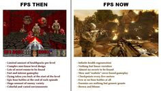 In the early days of video gaming, First Person Shooters tended to have limited health for avatars, non-linear level design, secret rooms, fast game-play, level restart after death, large enemy variety, and colourful and varied environments. This image compares FPS gameplay to more modern characteristics of currents FPS games.