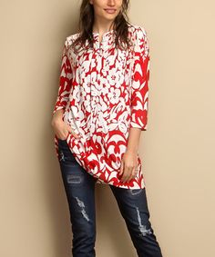 Another great find on #zulily! Red & White Floral Notch Neck Shift Tunic - Plus #zulilyfinds