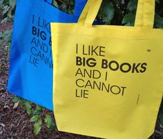 New! Yellow Tote! I Like Big Books And I Cannot by Pamela Fugate Designs