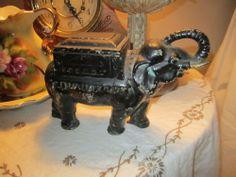 Antique Cast Iron Elephant Cigarette Holder Dispenser