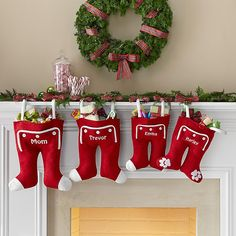 Knit Long John Stockings...love the candy canes on mantle