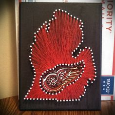 Detroit Red Wings String Art! Red Wings Art, State String Art, Michigan String Art, Hockey   Do this with New York Rangers