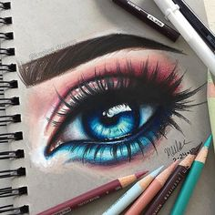 Behind the most beautiful eyes, lay secrets deeper and darker than the mysterious sea . art by Behind the most beautiful eyes, lay secrets deeper and darker than the mysterious sea . art by Cool Art Drawings, Pencil Art Drawings, Art Drawings Sketches, Horse Drawings, Colorful Drawings, Crayon Prismacolor, Eyes Artwork, Color Pencil Art, Color Art