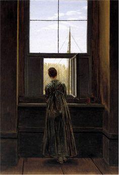 *#3 그들의 고독, 기다림 *창가의 여인 - 카스파 다비드 프리드리히(caspar david friedrich)(1822) oil on canvas 44*37   여인은 작게 난 창문 밖을 바라 보고 있다. 처음 봤을 때는 아이들이 뛰어노는 모습을 바라보고 흐뭇해 하는 어머니의 모습이 떠올랐다. 혹은 따뜻해진 날씨에 밖의 풍경을 바라본다고 생각했다. 하지만 여인의 뒷모습이기 때문일까? 어딘가 쓸쓸해 보여 누군가를 기다리는 모습으로도 보인다. 이렇게 뒷모습은 많은 해석을 가능케 하고 우리에게 순간적인 상상력을 부과한다. 과연 그녀는 어떤 이유로 창 밖을 바라보고 있을까?