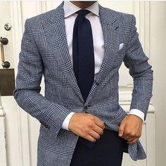 grey Sportcoat with dark blue pants, white shirt, pocket square and blue tie. #menswear #menstyle #streetwear #streetstyle #mensfashion #bespoke #giorgentiweddings