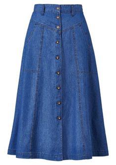 Long Denim Skirt Outfit, Long Skirt Fashion, Denim Fashion, Modest Fashion, Fashion Dresses, Jeans Dress, High Waist Rock, Traditional Skirts, Costume Shirts