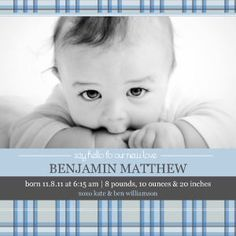 Mixbook Plaid Baby Photo Birth Announcements