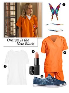 Orange Is the New Black -    You're sure to see a lot of tangerine scrubs throughout Halloween this year, and for good reason. Orange Is the New Black has gone totally viral, and the costume interpretation quite literally couldn't be easier. Pair scrubs with understated sneakers and a temporary tattoo — the more visible the ink, the better!