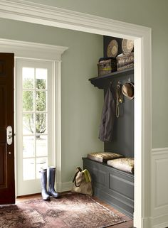 Green Entryway Ideas - Fresh, Formal Entry - Paint Color Schemes-Ben Moore October Mist 1495, Kendall Charcoal HC-166, floral white OC-29