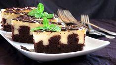 """Koláč s pudinkem: """"děravý"""" kakaový piškot s krémem a čoko polevou Pudding, Sweets, Baking, Cake, Recipes, Essen, Sweet Pastries, Bread Making, Pie Cake"""