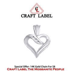 """1/10 Ct Round Briliant Cut 14K Gold Heart Promise Pendant Without Chain """"Mother\'s Day Gift"""". Starting at $1"""