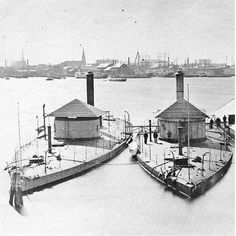 Two Monitors -- Shawnee & Wassuc -- laid up in Boston Navy Yard, circa 1871-2