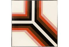 Midcentury Graphic Groove Painting