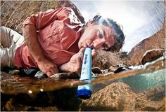 LIFESTRAW | EMERGENCY WATER The award-winning personal water filter enables users to drink water safely from contaminated water sources. So, if you´re lost in the woods or mountain an have no more water supply, Lifestraw provides you with safe, clean drinking water in any situation. Lifestraw doesn´t require batteries, filters up to 264 gallons, removes 99% of water bacteria and parasites and weighs only 2 ounces.
