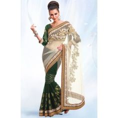 Bewitching Bottle Green and Off White Saree