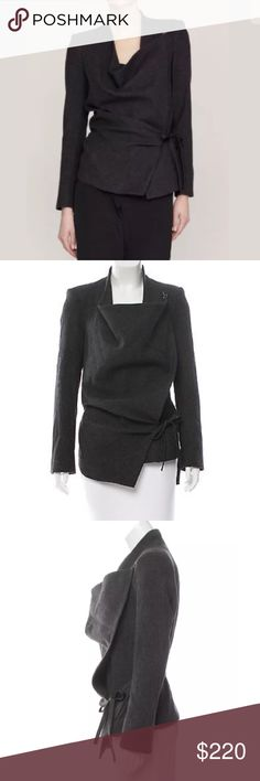 Helmut Lang Cashmere wrap jacket charcoal 4 You are bidding on a great Helmut Lang jacket.  100% cashmere jacket with silk lining, clasped draped neckline and leather side tie.  Leather trim on collar.    Size 4 - fits like a size small.  Guaranteed 100% Authentic! Helmut Lang Jackets & Coats