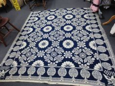 Estate Sale Blue Coverlet Hand Woven 19th Figural Dated 1856 Lucretia Grinnell | eBay