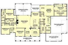 Country Style House Plan - 4 Beds 3.50 Baths 3194 Sq/Ft Plan #430-135 Floor Plan - Main Floor Plan - Houseplans.com