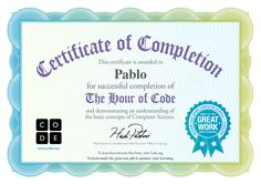 Certificate for Pablo
