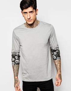 ASOS 3/4 Sleeve T-Shirt With Floral Print Sleeves