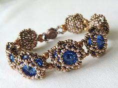 Glamorous Blue Flower Bracelet Swarovski Rivoli Bracelet Seed Bead Bracelet by CharlotteJewelryBox,