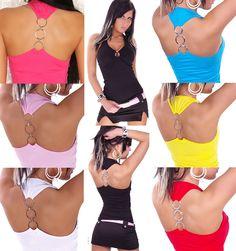 TOP SEXY DOS NU DÉBARDEUR ANNEAUX HAUT T-SHIRT ÉTÉ FEMME FASHION T.34/36/38 Camisole, T Shirt, Swimwear, Ebay, Sexy Wife, Accessories, Tee, One Piece Swimsuits, Swimsuit