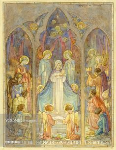 'Unto Us a Child is Born' - Nativity scene Christmas card. Three wise men, three shepherds, and a group of angels gather round to worship the baby Jesus in the Virgin Mary's arms. The style is that of a church stain glass window.