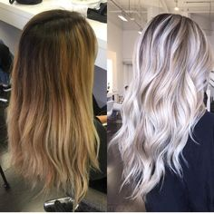 Pin by Amanda Hutter on Frisuren in 2019 White Blonde Hair, Blonde Hair Looks, Brown Ombre Hair, Platinum Blonde Hair, Ombre Hair Color, Platinum Blonde Highlights, Pinterest Hair, Hair Highlights, Balayage Hair