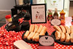 DIY Hot Dog Station at a Mickey and Minnie Mouse Party #mickeyminnie #partyfood