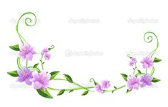 Purple flower and green vines - Stock Image