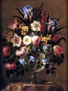 Juan de Arellano - Blumenstilleben in Glasvase