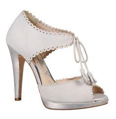 Anoush white tie front wedding shoes
