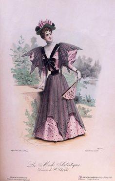 Arte: LA MODE ARTISTIQUE ORIGINAL S.XIX, G. JANET, COLOREADA A MANO, MODA ELEGANTE DE SEÑORAS, PARIS, 43X2 - Foto 2 - 48652328