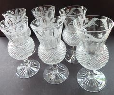 These vintage Edinburgh Thistle Shaped Whisky Glasses are hot Scottish Collectables. This is a particularly nice example pair of large stemmed glasses or goblets - which would be great for serving wine etc. The price here is for ONE PAIR only, but I do have three pairs available and can be selected via the quatity arrow key on the listing details. Each glass is 6 inches in height and with a diameter of 2 3/4 inches at the top of the glass - the foot has the same diameter. As you can s...