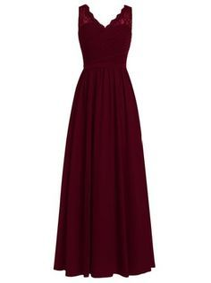 Dresstells® Long Bridesmaid Dress V-neck Chiffon Prom Dress Lace Evening Dress Burgundy Size 22W