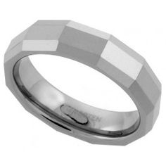 5.5mm Tungsten Wedding Band Faceted Dome Thin Rectangular Patterns Comfort fit, sizes 7 to 14