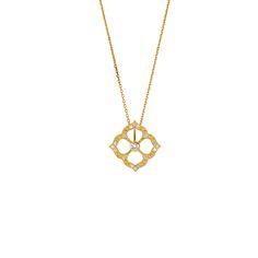 Small Chloe Pendant || 18k GOLD WHITE DIAMOND SMALL CHLOE PENDANT ON 16″ CHAIN || GOLD: 2.5 g TDW: 0.15 ct || #SaraWeinstockJewelry #SWGem