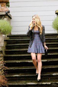 Girly dress + leather jacket