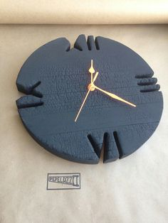 Wall clock. Burnt wood