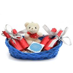 Gift this perfect package of love to your mom. Gift this cute hamper that includes a 2.5 inches high cute teddy, 4 bottles full of delicious chocolates. These items come packed in a wooden basket of 8.5x5.5 inches. Celebrate the special occasion of mother's day in a special way with this exclusively designed hamper. http://www.giftsbymeeta.com/choco-treat-gifts2102