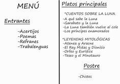 Ideal en Clase -Menú del restaurante Comelibros. CEIP Natalio Rivas, Albuñol.