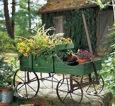 "Small Green Wood Decorative Rolling Wagon Garden Decor Metal 15 1/2""H NEW E0170"