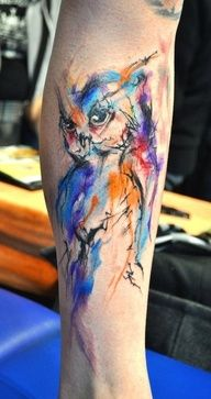 watercolor tattoo. Really like that style