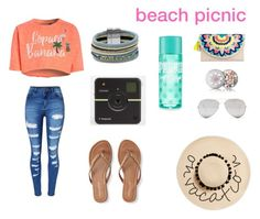 """""""beach picnic"""" by boo12-303 ❤ liked on Polyvore featuring Aéropostale, August Hat, WithChic, Merona, Design Lab, Sunny Rebel and Guerlain"""