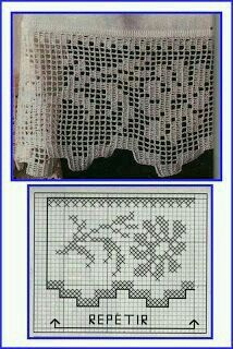 Szydełkomania: Borders for Filet Crochet, Crochet Borders, Crochet Chart, Crochet Squares, Irish Crochet, Crochet Stitches, Crochet Patterns, Crochet Curtain Pattern, Crochet Curtains