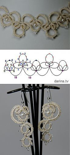"""Olga"" scheme wedding necklaces and earrings (Ankars, tatting) Tatting Necklace, Tatting Jewelry, Tatting Lace, Wedding Jewelry Sets, Wedding Necklaces, Needle Tatting Patterns, Tatting Tutorial, Crochet Patron, Crochet Dishcloths"