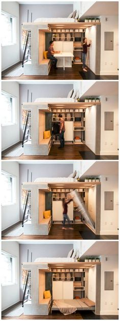 furniture design Multi-functional loft transforms a small condo into a dynamic space: Tiny Spaces, Small Apartments, Studio Apartments, Small Condo, Small Loft, Space Saving Furniture, Space Saving Beds, Tiny House Living, Small Space Living