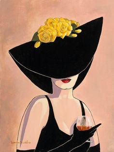 """Flirty Black Hat with Brandy"" by Lorraine Dell Wood. Fashion Art, Vintage Fashion, Creation Art, Arte Pop, Lorraine, Female Art, Mail Art, Art Drawings, Pop Art"