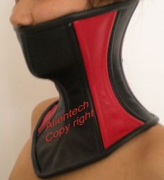 25a120fedc Black and Red Real Leather Over Mouth Neck Corset Posture Collar