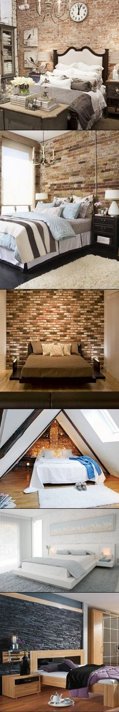 DIY Ideas To Decorate A Brick Wall Behind Your Bed check out Lowes for foe fake brick walls Home Bedroom, Bedroom Decor, Bedroom Ideas, Exposed Brick, Fake Brick, D House, Interior Exterior, Beautiful Bedrooms, My Dream Home